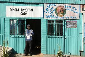 Ethiopia, Amhara Region, holy city of Lalibela, cyber cafe